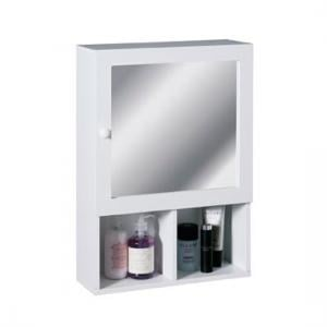 White Wood Cabinet With Mirror