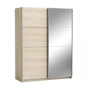 Oakley Mirrored Sliding Wardrobe In Shannon Oak With 2 Doors