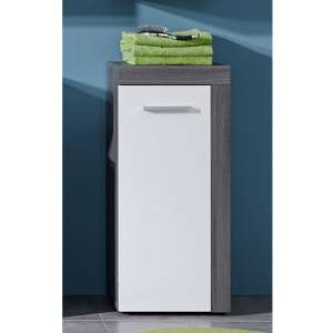 Wildon Bathroom Floor Storage Cabinet In White And Smoky Silver