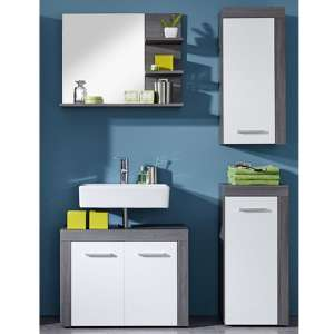 Wildon Bathroom Furniture Set 11 In White And Smoky Silver