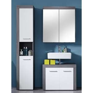 Wildon Bathroom Furniture Set 3 In White And Smoky Silver