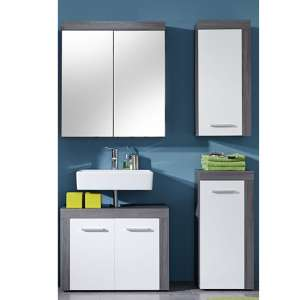 Wildon Bathroom Furniture Set 5 In White And Smoky Silver