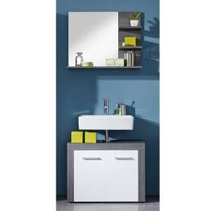 Wildon Bathroom Furniture Set 9 In White And Smoky Silver