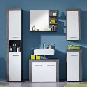 Wildon Bathroom Furniture Set In White And Smoky Silver