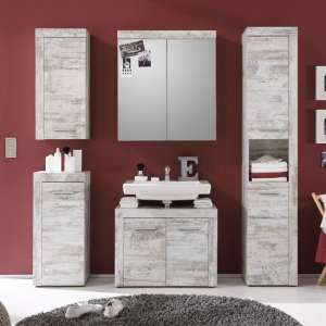 Wildon Bathroom Furniture Set In Canyon White Pine And LED