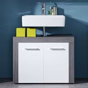 Wildon Bathroom Vanity Unit In White And Smoky Silver