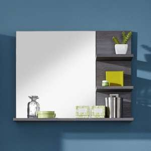 Wildon Bathroom Wall Mirror In White And Smoky Silver