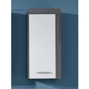 Wildon Bathroom Wall Storage Cabinet In White And Smoky Silver