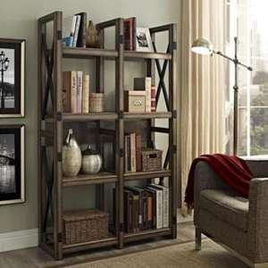 Wildwood Wooden Bookcase In Rustic Grey