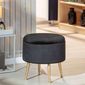 Willandra Fabric Storage Ottoman Stool In Black With Metal Legs