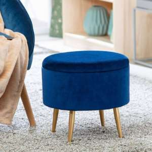 Willandra Fabric Storage Ottoman Stool In Blue With Metal Legs