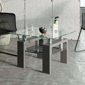 Willis Glass Side Table In Clear With Grey High Gloss Legs