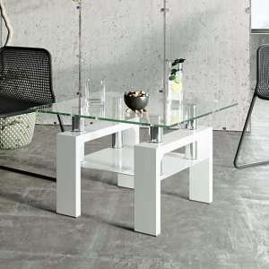Willis Glass Side Table In Clear With White High Gloss Legs