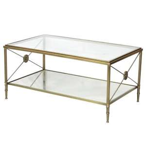 Williston Mirrored Glass Coffee Table With Metal Legs