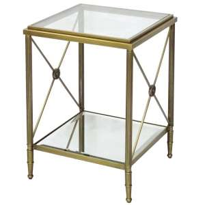 Williston Mirrored Glass End Table With Metal Legs