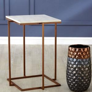 Willow Square Side Table In Marble Top With Gold Frame