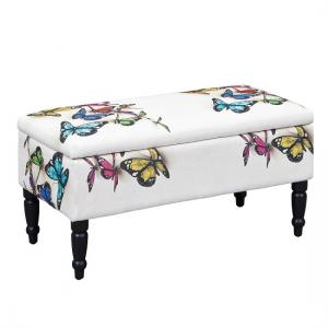 Willow Storage Bench Rectangular In White With Wooden Legs_3