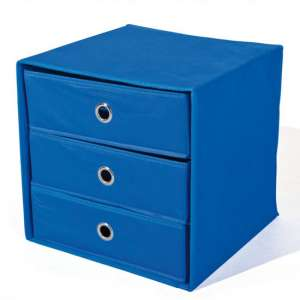 Willy Foldable Storage Box In Blue With 3 Drawers