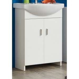 Wilmore Vanity Cabinet With Sink In White With High Gloss Fronts