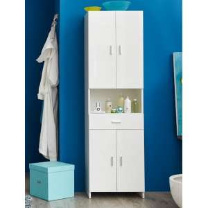 Wilmore Bathroom Cabinet Wide In White With High Gloss Fronts