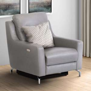Windsor Faux Leather Electric Recliner Armchair In Grey