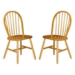 Windsor Honey Lacquered Wooden Dining Chairs In Pair