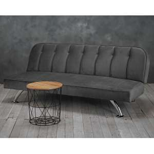 Wingert Velvet Sofa Bed In Grey With Silver Finished Legs