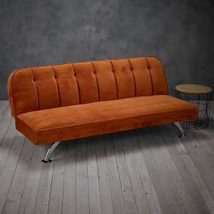 Wingert Velvet Sofa Bed In Orange With Silver Finished Legs