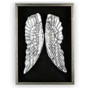 Wings Painting Wooden Wall Art In Black And Antique Silver Frame