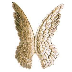 Wings Poly Wall Art In Antique Gold