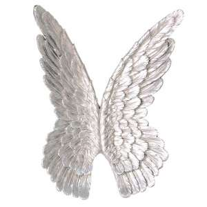 Wings Poly Wall Art In Antique Silver