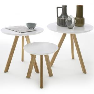 Winifred Set Of 3 Coffee Tables In White With Oak Legs