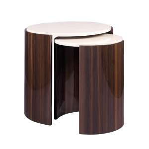 Winslow Nesting Tables In Walnut And Cream High Gloss