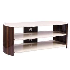 Winslow TV Stand In Walnut And Cream High Gloss