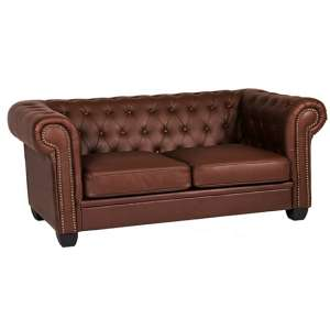 Winston Leather And PVC 3 Seater Sofa In Auburn Red