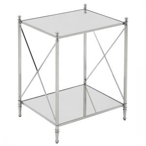 Witney Mirrored Glass Side Table With Chrome Frame