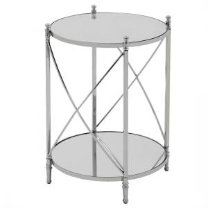 Witney Mirrored Glass Round Side Table With Chrome Frame