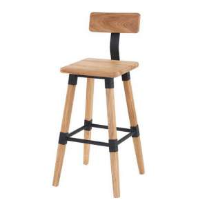 Wito Wooden Bar Stool In Natural Elm With Steel Frame