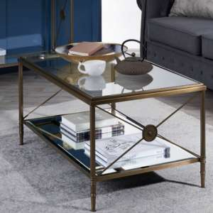 Woburn Glass Coffee Table In Clear With Antique Brass Frame