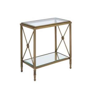 Woburn Glass Side Table Rectangular In Clear And Antique Brass
