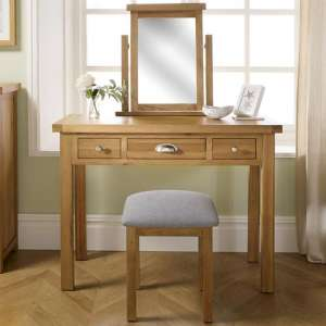 Woburn Wooden Dressing Table In Oak 3 Drawers