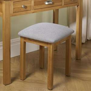 Woburn Wooden Stool In Oak With Fabric Seat