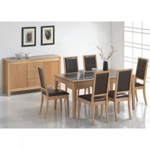Arizona Oak Dining Table Set with 6 Chairs