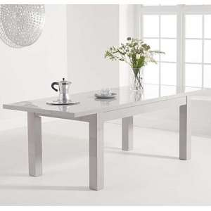 Worrel Wooden Extending Dining Table In Light Grey High Gloss