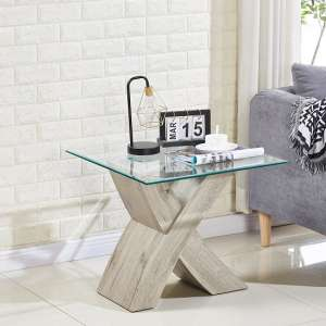 Xanti Glass X Base Lamp Table In Clear With Grey Oak Effect