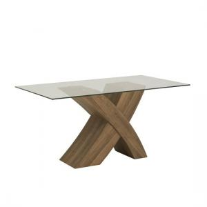 Xanti Clear Glass X Oak Base Dining Room Table Only