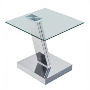Xavi Glass Side Table In Clear With Polished Stainless Steel Bas