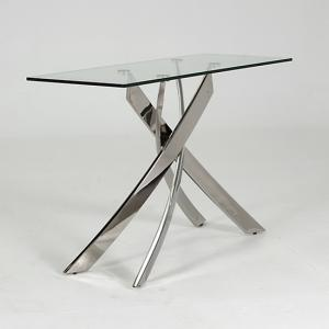 Xenon Glass Console Table In Clear With Stainless Steel Base