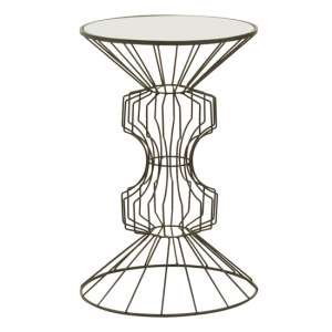Xuange Round White Mirrored Top Side Table In Black Frame