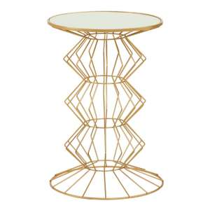 Xuange Round White Mirrored Top Side Table In Gold Frame